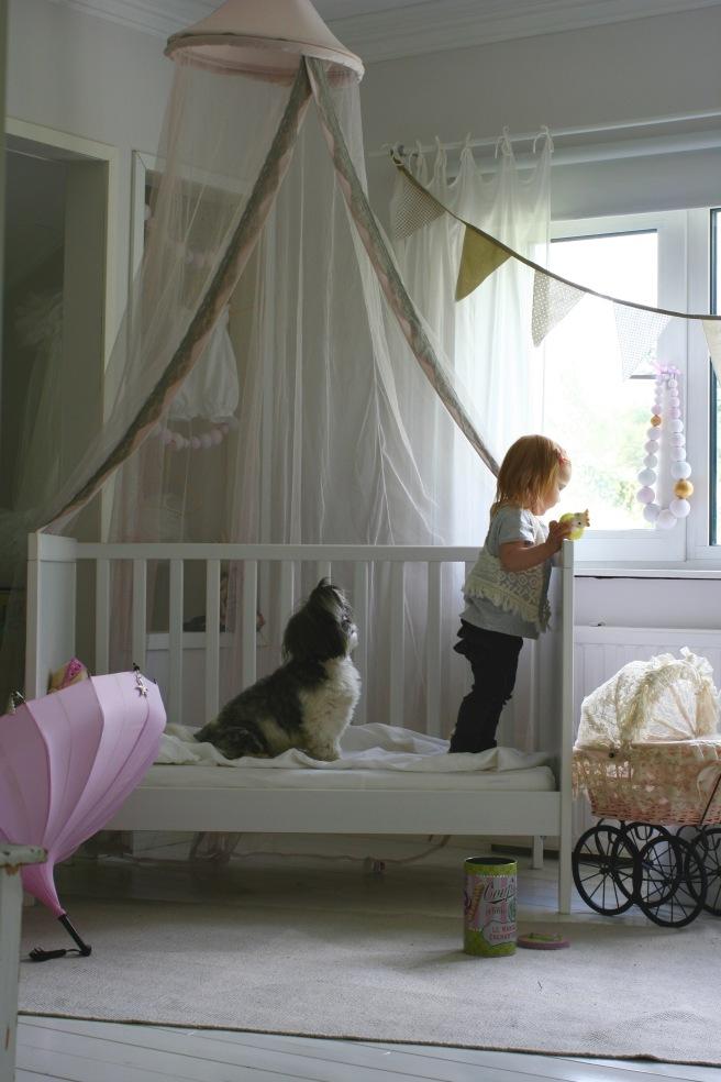 prinsessakatos sängyn päälle