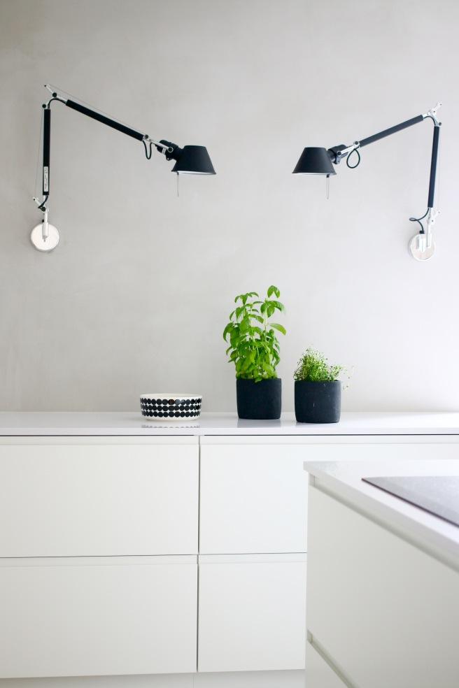 Design valaisimet, keittiö, moderni valkoharmaa