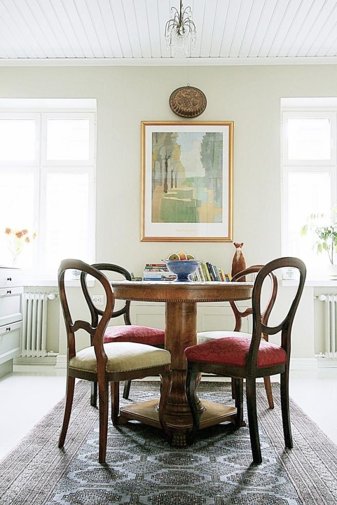 Vintage keittiöpöytä, pyöreä