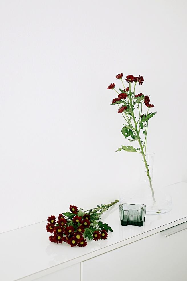 viininpunaisia kukkia